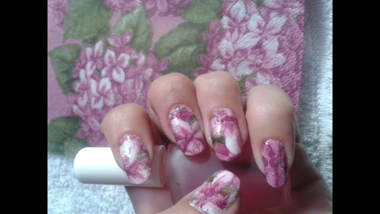 Nail art con servilletas de papel decoupage youtube - Servilletas decoradas de papel ...