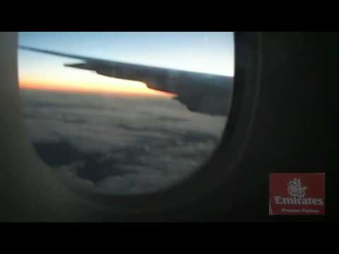 A380 800 Emirates  Sunset view by the window and vertical stabilizer