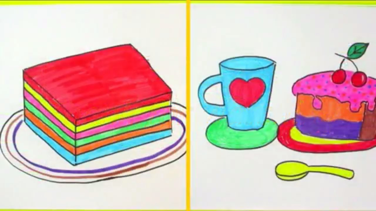 How To Draw A Slice Of Cake, A Cup Heart Love and A Jelly Rainbow ... for Drawing Cake Slice  45jwn