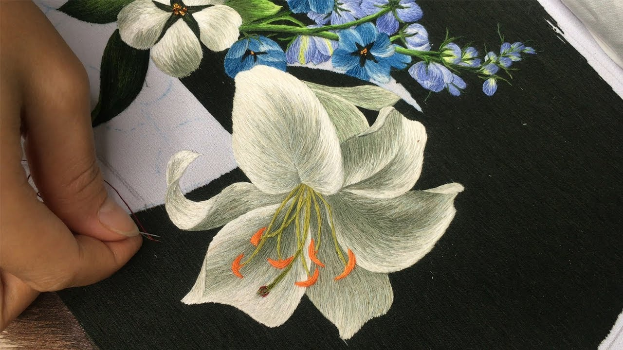"Hand Embroidery Art: ""White Lilies Vase"" Embroidery Patterns"