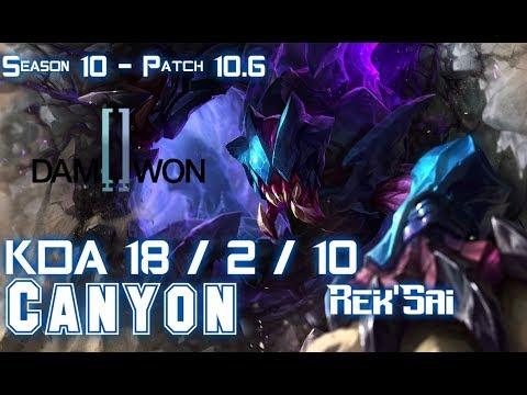 DWG Canyon REK'SAI Vs Gen Clid SYLAS Jungle - Patch 10.6 KR Ranked