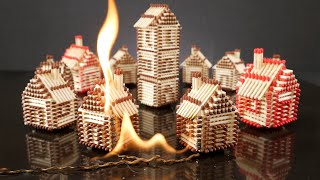 How to Make a Match House Town without Glue and Burn it Fire Domino Chain Reaction