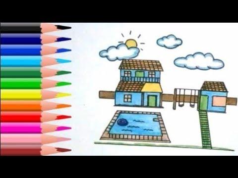 cara-menggambar-rumah-dan-kolam-renang-|-belajar-menggambar-untuk-anak