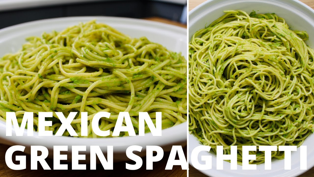 Recipe Mexican Green Spaghetti Cookingwithelvee Youtube