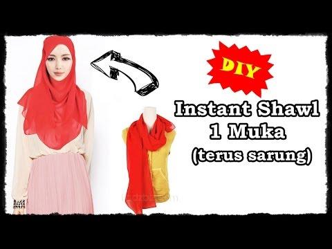 DIY: Menjahit instant shawl satu muka yang terus sarung - YouTube