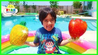 Ryan Pretend Play with Fruits and Learn Colors | Educational Video for Kids!!!