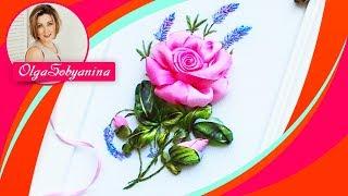 Вышивка лентами Розы с необычными листьями 🌹