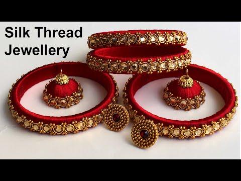 సిల్క్ థ్రెడ్ బ్యాంగిల్స్ తయారీ విధానం|How to Make Silk Thread Bangles at Home|Silk Thread Jewellery