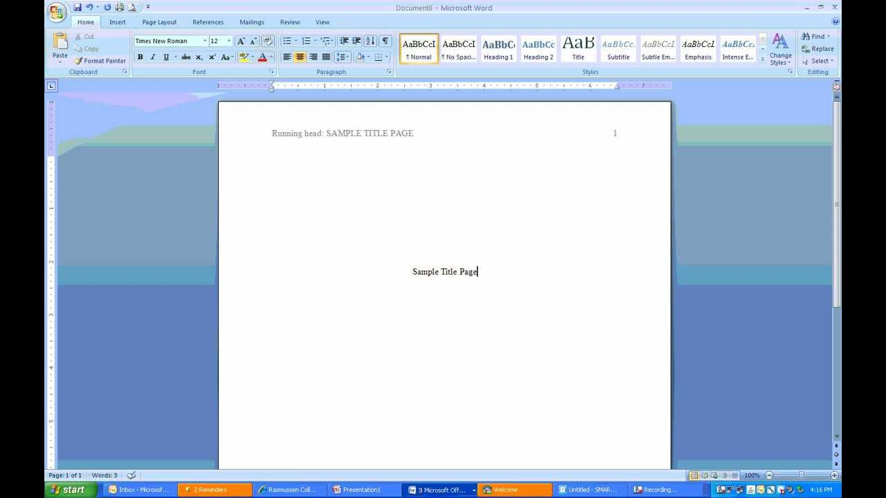 how to do apa cover page