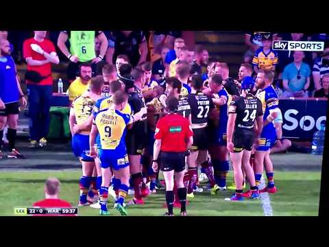 RUGBY LEAGUE FIGHT! Stevie Ward v Daryl Clark; Leeds Rhinos v Warrington Wolves.