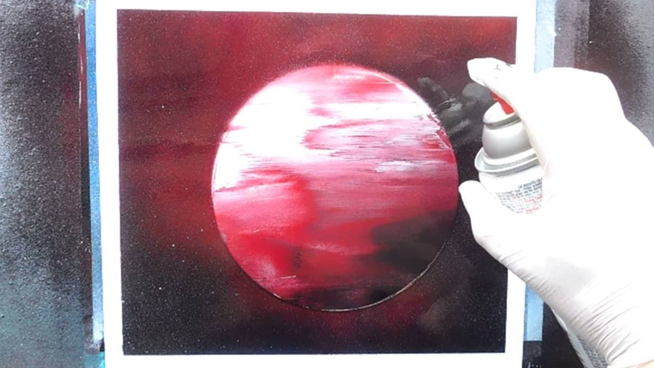 Speed painting a red planet spray paint art for for Spray paint art tutorial beginner