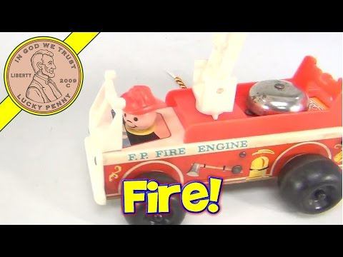 Vintage 1968 Fisher-Price F.P. Fire Engine Pull-Along Toy # 720
