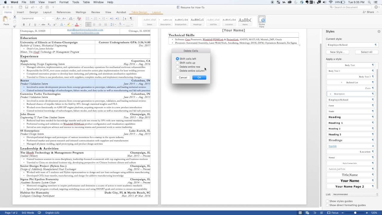formatting of a tabular resume