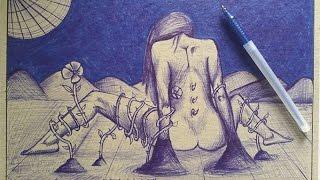 Reto DIBUJO CON BOLÍGRAFO! Diana Díaz | HaroldArtist | José Grullón - ArtQuit Draw