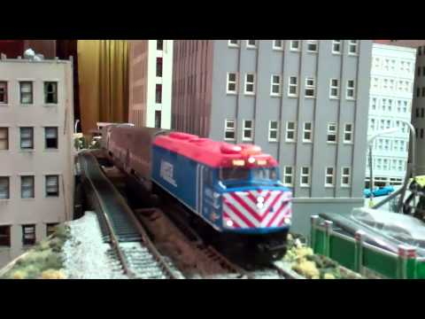 Metra Trains In Downtown (HO Scale)