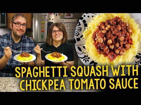 Recipe: Spaghetti Squash with Chickpea Tomato Sauce (Oil-Free, Vegan)
