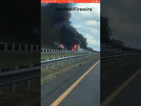Video Captures Tractor Trailer Engulfed In Flames On I-77