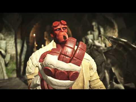 Injustice 2 HellBoy gameplay in Hell on Earth, the Warning tower
