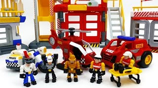 Prison Escape~! Tonka Town Prison Fire Station Air Rescue Station Play Set