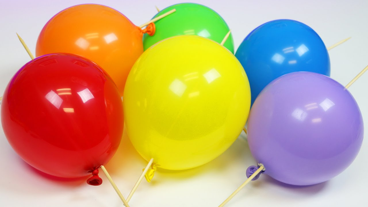 balloon skewer magic trick learn rainbow colors party trick
