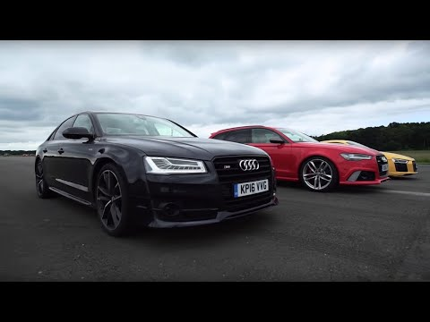 Audi Drag Race! R8 V10 Plus Vs RS6 Vs S8 | Top Gear | BBC