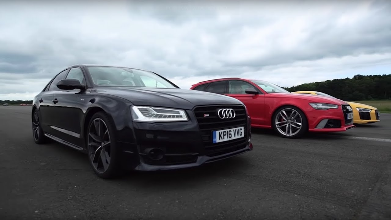 Audi Drag Race R8 V10 Plus Vs Rs6 Vs S8 Top Gear Youtube