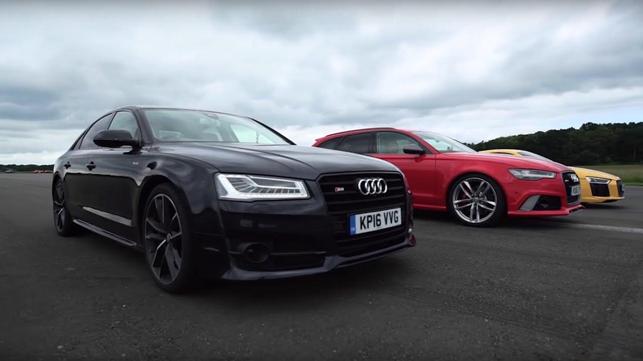 Audi Drag Race R8 V10 Plus Vs Rs6 Vs S8 Top Gear