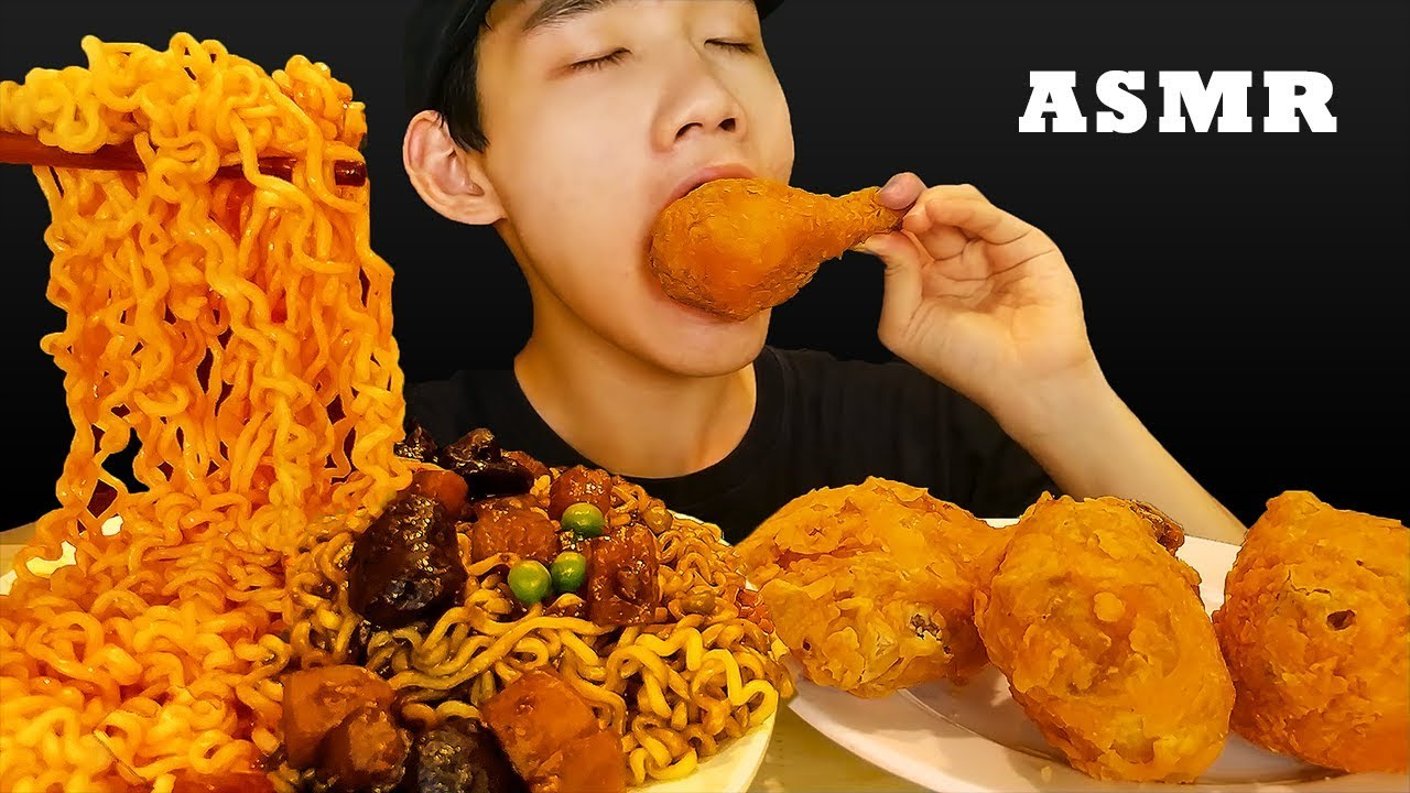 ASMR COMBO SPICY NOODLES + JAJANGMYEON with FRIED CHICKEN (EATING SOUNDS) | TANTAN Twins ASMR