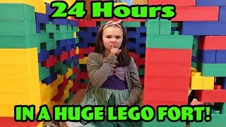 24 Hours In A Huge Lego Fort! 24 Hours With No Lol Dolls!