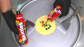 Skittles Ice Cream Rolls | how to make Skittles Ice Cream with colorful Candy | most satisfying ASMR