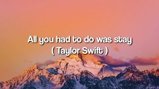 All You Had To Do Was Stay - Taylor Swift (Lyrics)