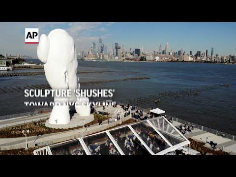 Sculpture 'shushes' toward NYC skyline