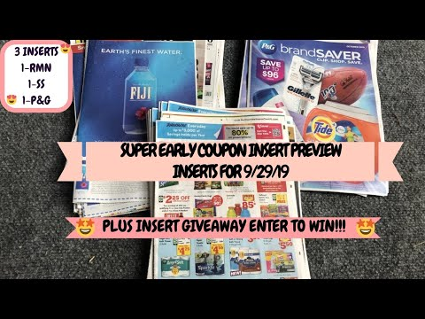 SUPER EARLY COUPON INSERT PREVIEW FOR 9/29/19 1-RMN 1-SS 1-P&G~PLUS INSERT GIVEAWAY ENTER TO WIN 😍