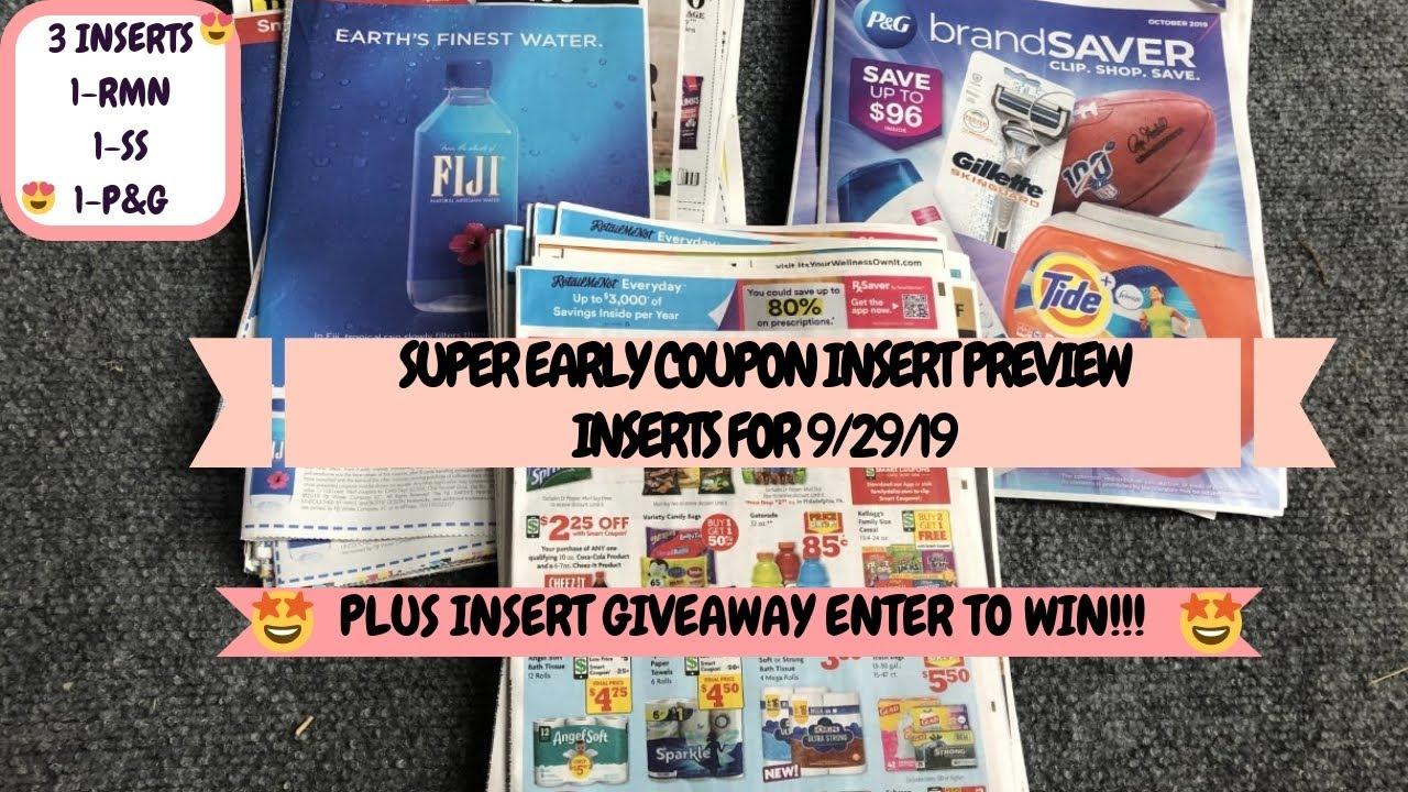 Super Early Coupon Insert Preview For 9 29 19 1 Rmn 1 Ss 1 P G Plus Insert Giveaway Enter To Win Youtube