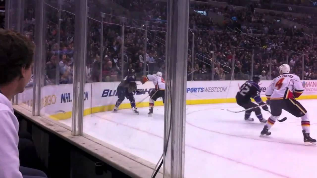 la kings hockey game hd front row staples center glass