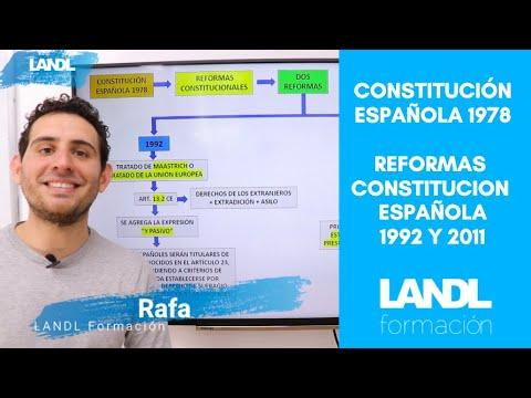 Esquema constitución española 1978 oposiciones, reformas constitucionales 1992 y 2011