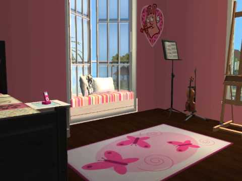Kids bedroom for girls sims 2 youtube for Bedroom design simulator free