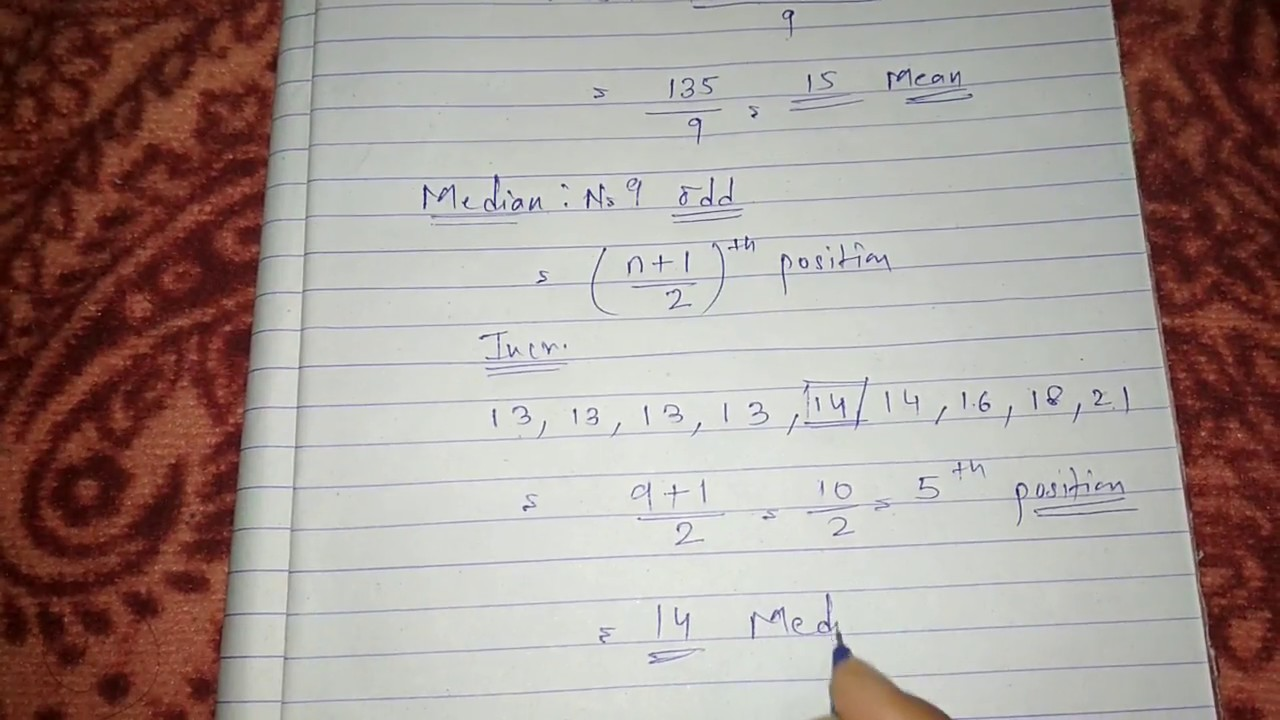 How to Find Mean Median Mode in Hindi   Mean median Mode in Statistics for  Class 9th, 10th and CBSE