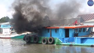 Cái kết kéo xà lan khổng lồ bị nước hút vào kênh Vàm Rầy - HĐ - KG/The ship is in danger