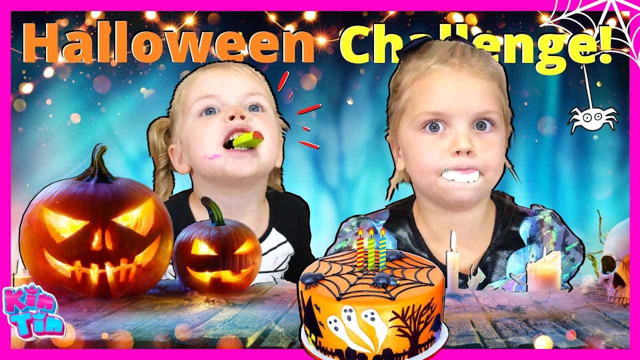 Baking Halloween Treats with Kin Tin Family! Spooky Ghost and Zombie Cake Challenge! Kids vs Parents