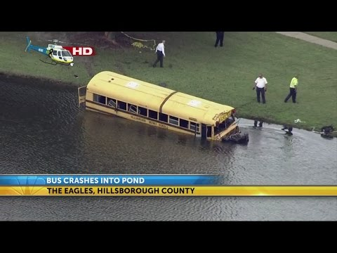 Hillsborough school bus crashes in pond