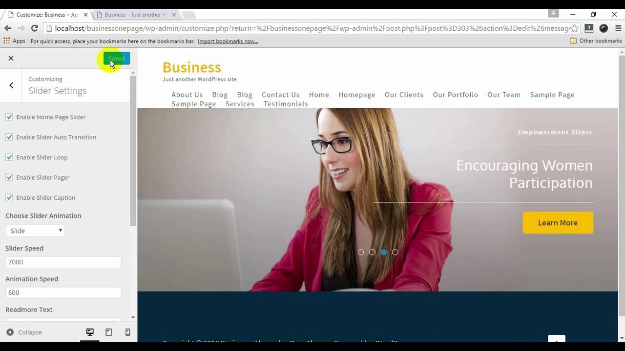 How To Setup Slider In Business One Page WordPress Theme