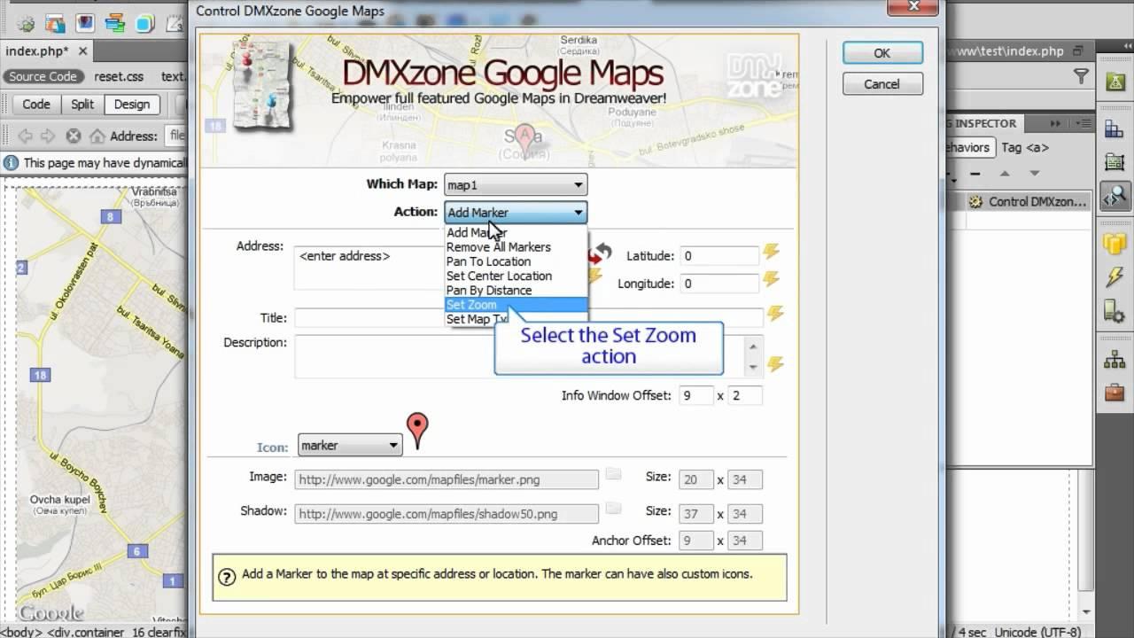 Control The Dmxzone Google Maps With Behaviors Videos Dmxzone Com