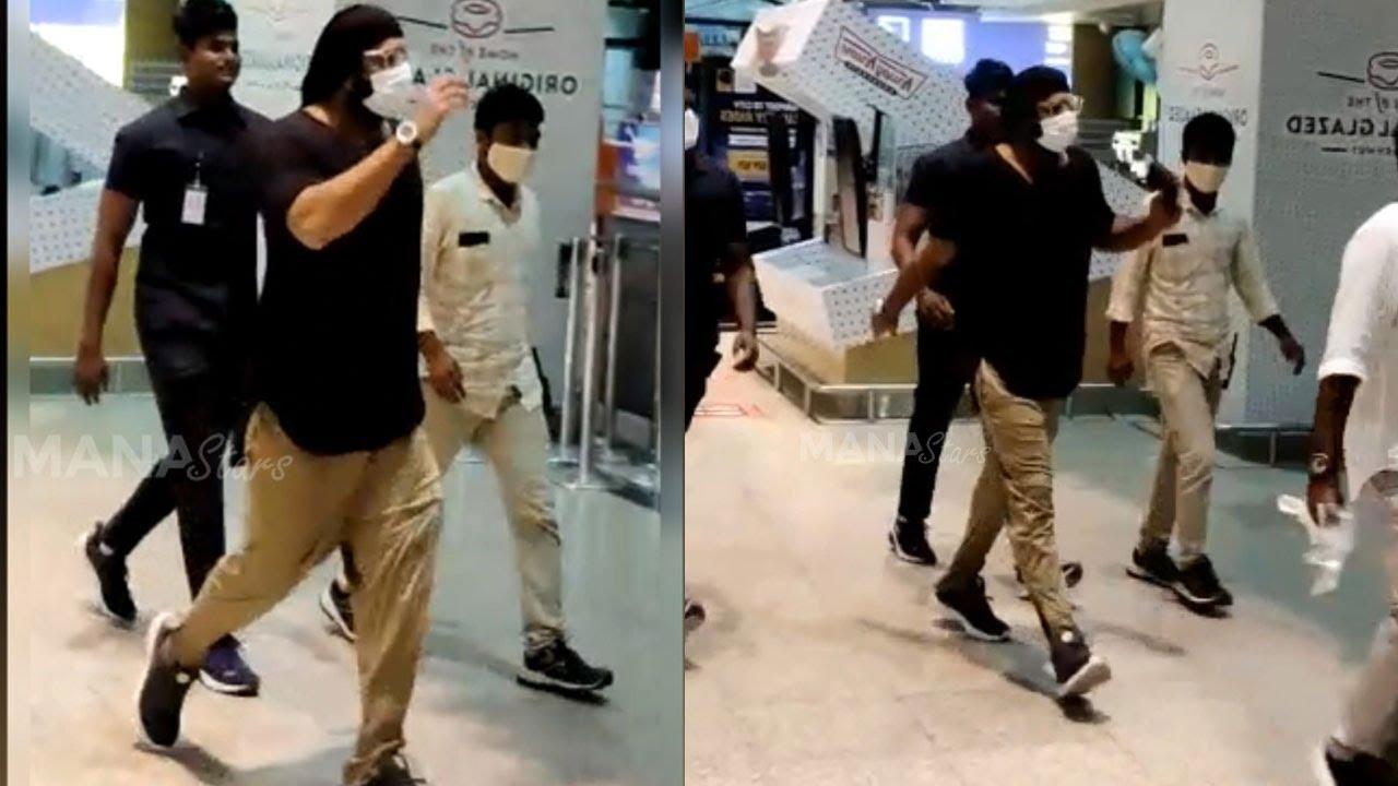 Prabhas Visuals @ Hyd Airport   Back From Radhe Shyam Shoot   MS  entertainments - YouTube