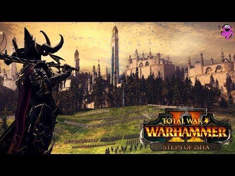 Total War Warhammer 2 Steps of Isha - New FLC 2v2 Tomb Kings and Dark Elves