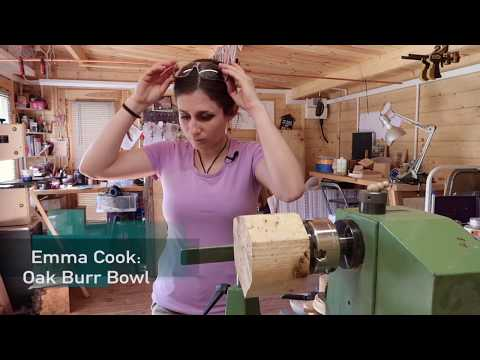 Wood Turning an Oak Burr/Burl Bowl - with Emma Cook