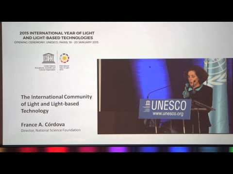 France Córdova speaks at UNESCO in Paris, for opening of International Year of Light