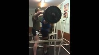 Александр Курак приседания RAW  -  350 кг в бинтах  и поясе, подготовка к KRINICA CUP - 2014 !