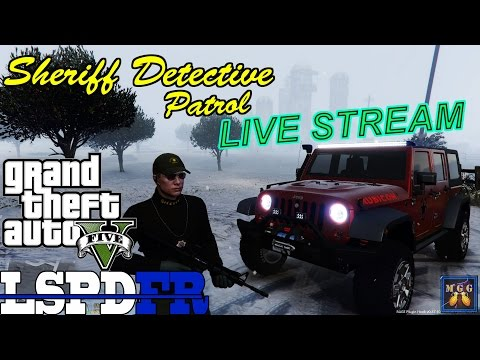 Sheriff Detective Patrol in a Jeep Wrangler Rubicon During a Blizzard GTA 5 LSPDFR Live Stream 34