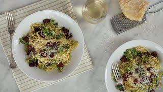 Brussels Sprouts and Bacon Pasta- Everyday Food with Sarah Carey